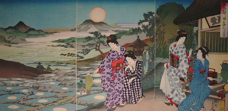 Moon Viewing over Sarashina Rice Fields (1891) by Yoshu Chikanobu
