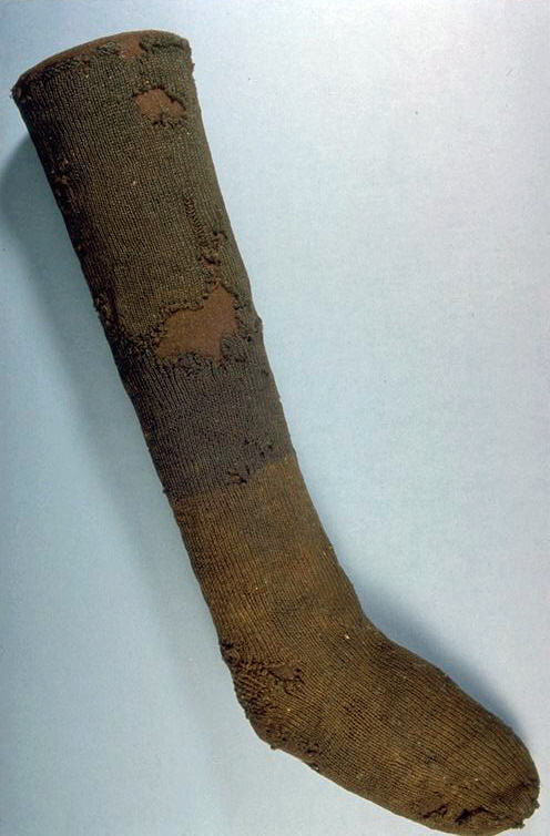 Stocking 1 of a pair - 16th century - Museum of London A26851