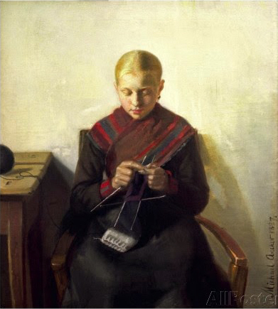 Michael-peter-ancher-a-young-girl-knitting-maren-brens-1887