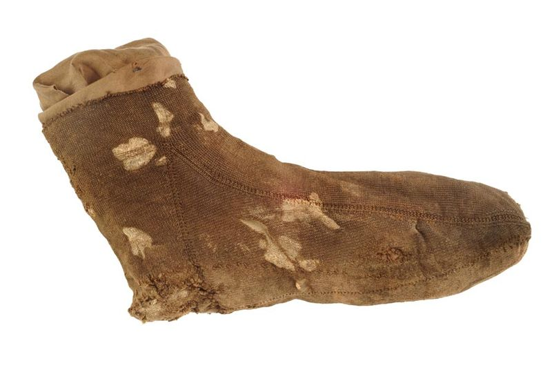 Stocking foot - mid 16th century - Museum of London A13833