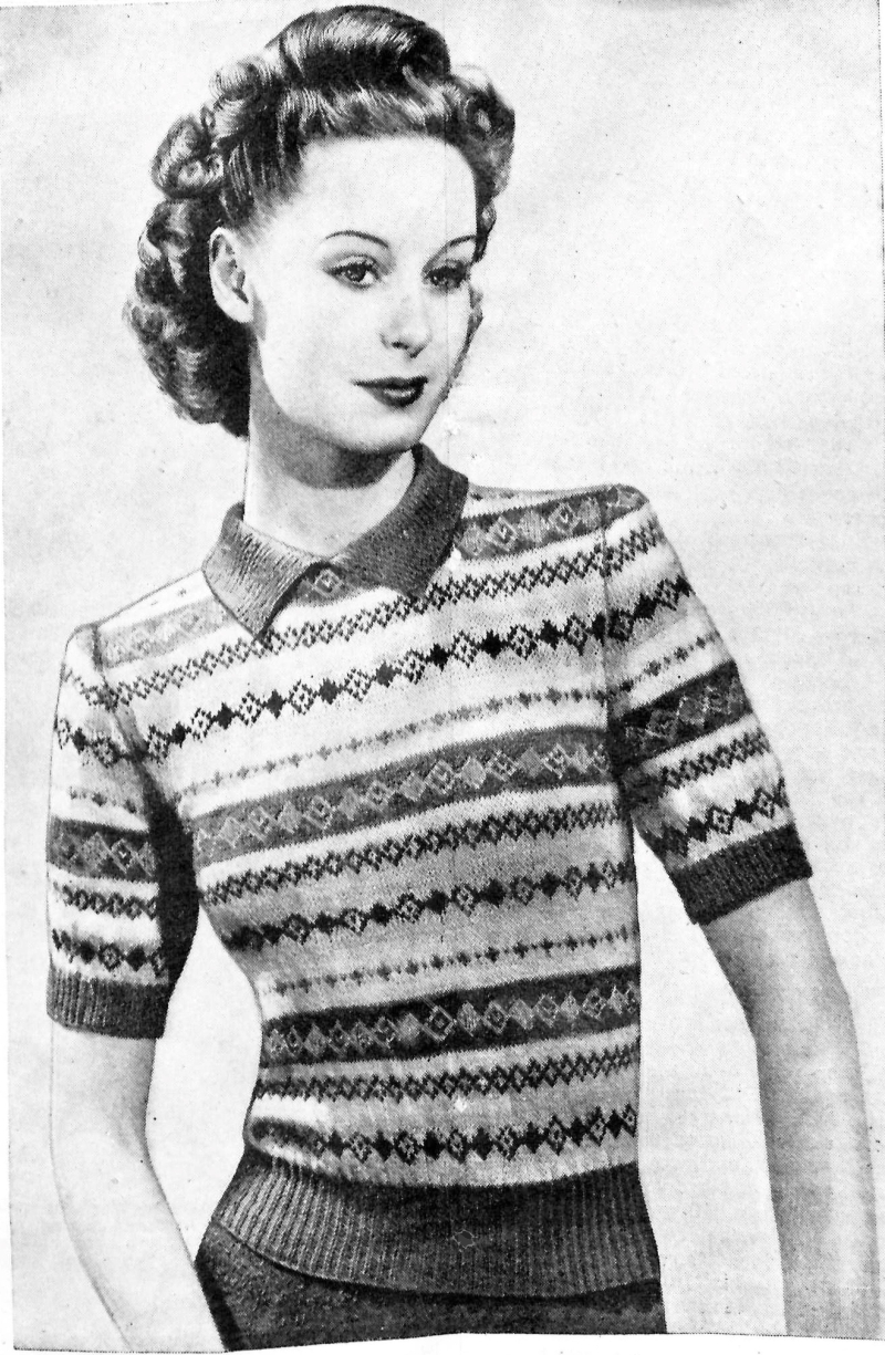 Bestway Knitting 1946 A Fair Isle to Use Up Your Small Scraps of Yarn - Vintage Knitting Pattern Archive - 1 of 3