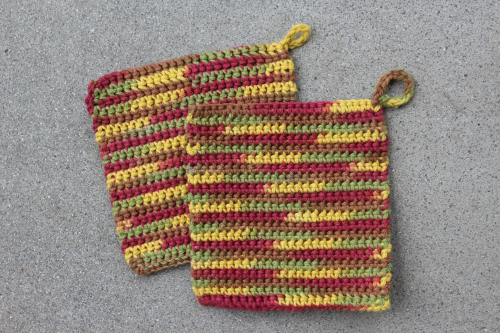 Two Thermal-Stitch Crochet Potholders